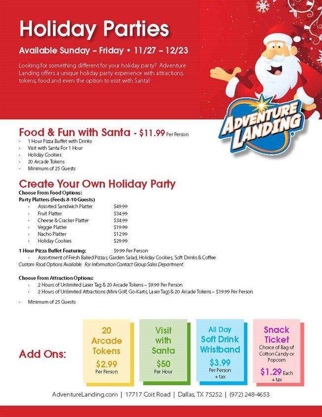 Holiday Parties Adventure Landing Family Entertainment